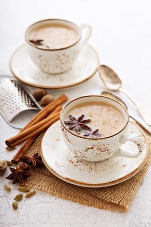 겨울 향신료와 함께 컵에 Masala 차