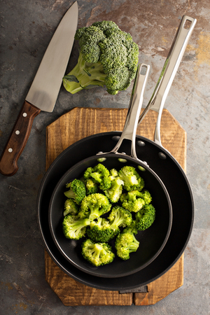 Steamed or stewed broccoli in a skillet
