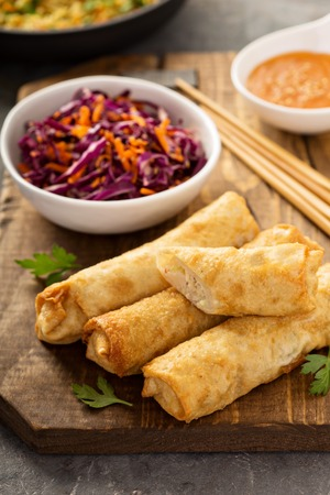 Egg rolls with cabbage and chicken 版權商用圖片