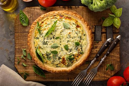Spinach and herb Florentine quiche