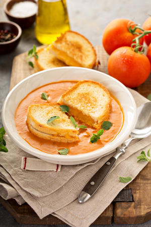 gazpacho: Tomato soup with grilled cheese sandwiches