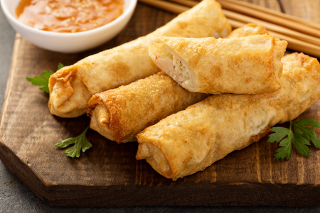 Egg rolls with cabbage and chicken Stock Photo