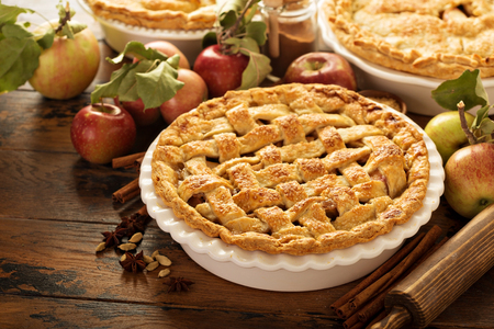 Apple pie decorated with lattice Фото со стока