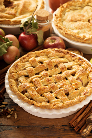 Apple pie decorated with lattice Stock Photo