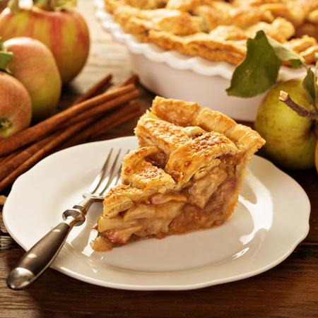 Pezzo di torta di mele su un piatto