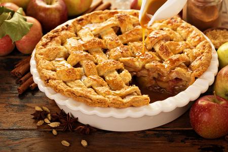 Apple pie decorated with lattice Foto de archivo