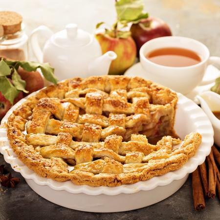 Apple pie decorated with lattice Stock Photo