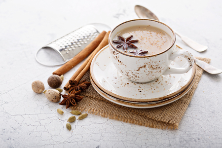 Warm chai tea with winter spices