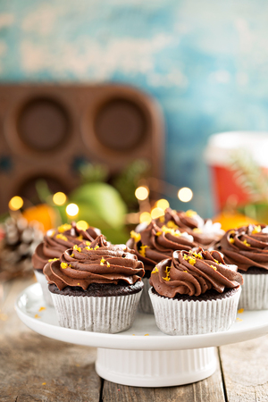 Chocolate orange cupcakes for Christmas
