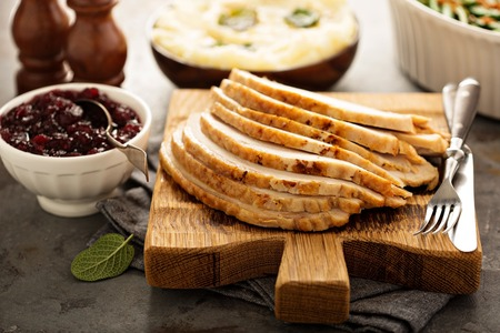 Sliced roasted turkey breast for Thanksgiving or Christmas Stock Photo