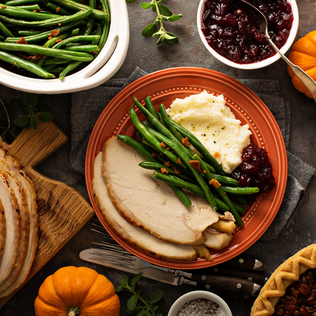 Thanksgiving plate with turkey, mashed potatoes and green beans Stock Photo