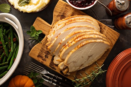 Sliced roasted tukey breast for Thanksgiving or Christmas Stock Photo