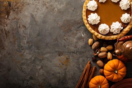 Pumpkin pie with whipped cream Stockfoto