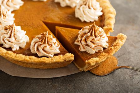 Pumpkin pie with whipped cream Archivio Fotografico