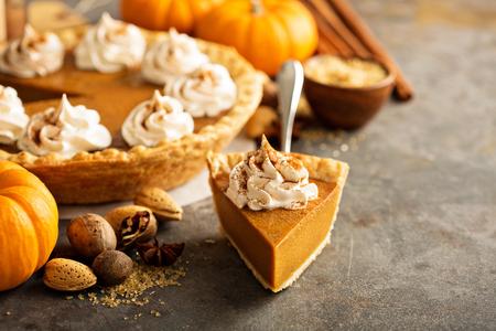 Pumpkin pie with whipped cream Foto de archivo