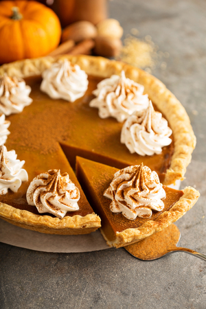Pumpkin pie with whipped cream 写真素材