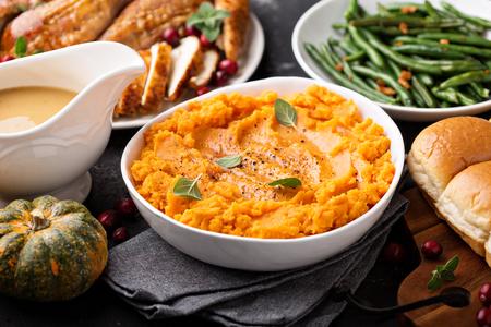 Mashed sweet potatoes on Thanksgiving table Stock fotó - 90943105