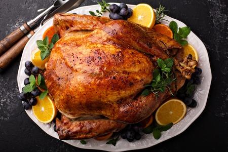 Feestelijke viering geroosterd Turkije voor Thanksgiving Stockfoto