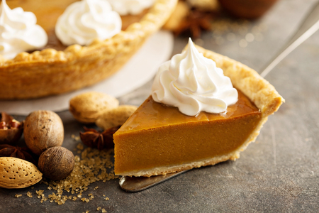 Pumpkin pie with whipped cream 스톡 콘텐츠