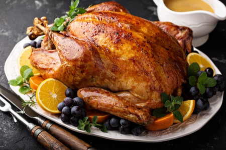 Festive celebration roasted turkey for Thanksgiving