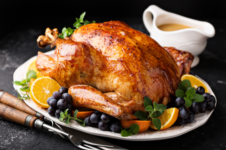 Festive celebration roasted turkey for Thanksgiving Stok Fotoğraf - 90943213