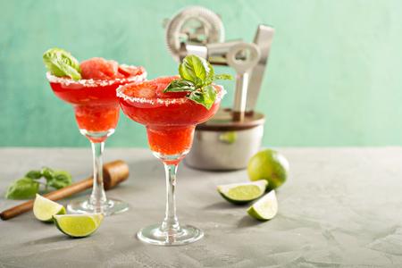 Frozen strawberry lime margarita