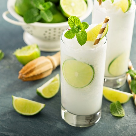 Refreshing summer drink lime frozen cooler or slushie Stock fotó