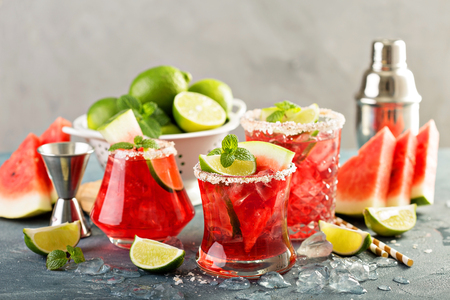 Refreshing summer drink watermelon margarita with limes