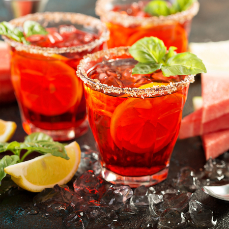 Refreshing cold citrus watermelon and basil margarita