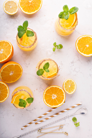 Orange and lemon margarita cocktail Stock Photo