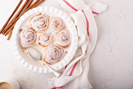 Cinnamon rolls in a baking dish