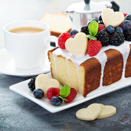 Vanilla pound cake with cookie hearts, baking dessert for Valentines day