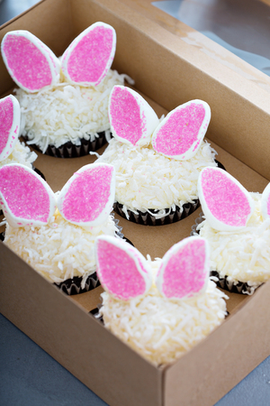 Easter chocolate cupcakes with bunny ears and coconut flakes in a box