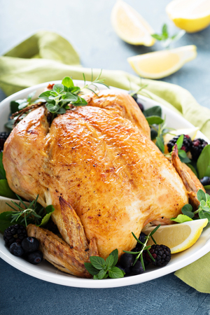 Roasted chicken for holiday or sunday dinner 스톡 콘텐츠