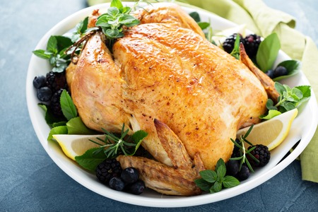 Roasted chicken for holiday or sunday dinner Stock fotó