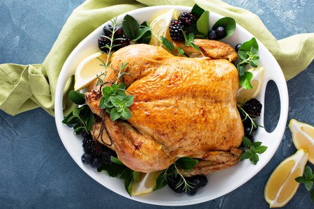 Roasted chicken for holiday or sunday dinner Stock Photo