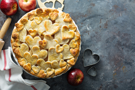 Apple pie with hearts shaped crust