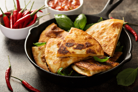 Fried quesadillas with cheddar cheese and hot pepper Stock Photo