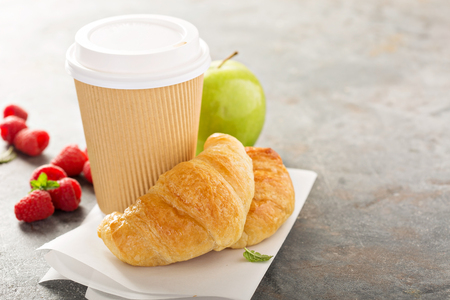 Coffee to go with croissants
