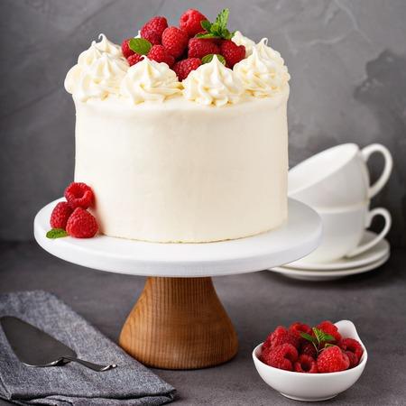 白いフロスティングのバニララズベリーケーキ 写真素材