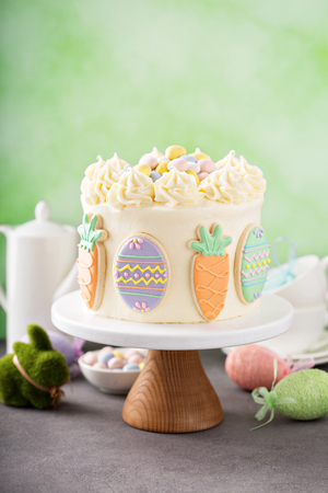 Carrot cake with frosting for Easter