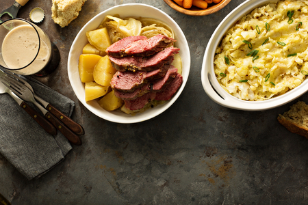 Traditional Irish dinner with corned beef and colcannon