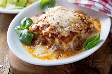 Traditional lasagna with bolognese sauce Foto de archivo