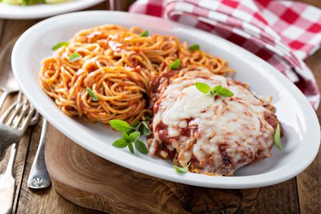 Veal Parmigiana with spaghetti