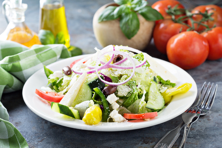 House salad with fresh vegetables picled pepper and feta cheese Imagens - 98026663