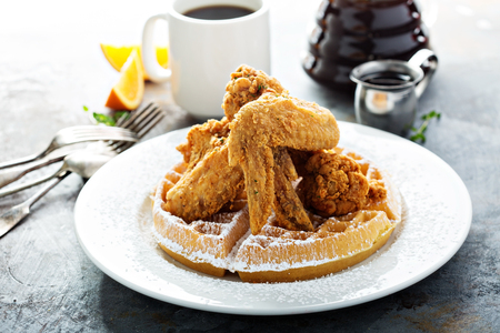 Fried chicken and waffles, southern food concept Stock Photo