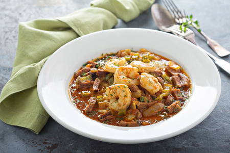 Grits and shrimp dish, southern food concept