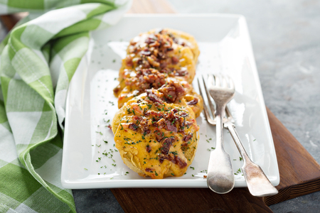 Fried green tomatoes with cheese and bacon