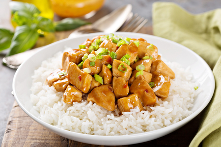 Sweet and sour chicken with rice Archivio Fotografico
