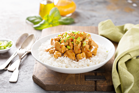 Sweet and sour chicken with rice Stockfoto